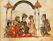 Nasr Hamid Abu Zayd in Najra addressing a meeting, miniature from The science of al-Hariri, Arabic manuscript, 13th Century.  Paris, Bibliothèque Nati...