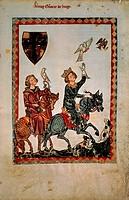 Conradin of Swabia hunting with falcons, miniature from Manesse Code, manuscript, 1304, Germany,  Heidelberg, Universitatsbibliothek Heidelberg (Libra...