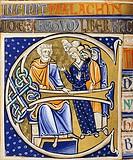 David in old age, miniature from the Bible of Souvigny, Latin manuscript 1 folio 112 verso, 12th Century.  Moulins, Bibliothèque Municipale (City Libr...