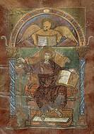 Saint Mark, from the Gospel of Saint Riquier, or the the Gospel of Charlemagne, manuscript, France ca 800.  Abbeville, Bibliothèque Municipale (Librar...