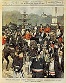 France's mayors escort President Loube to Elysée following a banquet for 22 000 people. Illustrator Achille Beltrame (1871-1945), from La Domenica del...