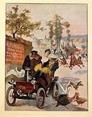 France - 20th century - Circus star kidnapped, Wilhio's poster for De Dion- Bouton cars, Paris 1900  Compiegne, Musée National Du Château De Compiègne...