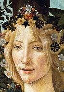 The face of Flora, detail of the allegory of spring, ca 1477-1490, by Sandro Botticelli (1445-1510), tempera on wood, 203x314 cm.  Florence, Galleria ...
