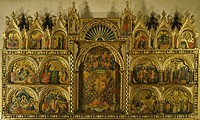 Polyptych of the Coronation of the Virgin Mary, Stories of Jesus and Stories of St Francis, by Paolo Veneziano (active 1333-1358).  Venice, Accademia ...