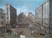 Running of the Bulls and wheelbarrow race at the Rialto, Venice, by Gabriel Bella (1730-1799). Oil on canvas, 93x122.5 cm.  Venice, Fondazione 'Querin...