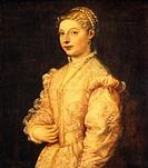 Portrait of Lavinia Vecellio or young woman, 1544-1545, by Titian (ca 1490-1576), oil on canvas, 84x73 cm.  Naples, Museo Nazionale Di Capodimonte (Ar...