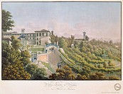 Villa Trotti in Verano Brianza, 1823, by Caroline and Friedrich Lose, from A pictorial journey through the mountains of Brianza 1823, Italy 19th Centu...