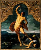 Victorious Samson, 1611-1612, by Guido Reni (1575-1642), oil on canvas, 260x223 cm.  Bologna, Pinacoteca Nazionale Di Bologna (Art Gallery, Paintings)