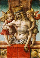 The Dead Christ supported by Two Angels, by Carlo Crivelli (ca 1430- ca 1495), tempera on wood, 17x12 cm.  Paris, Musée Du Louvre