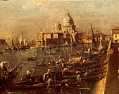 View of the Molo towards the Santa Maria della Salute, 1775-1779, by Francesco Guardi (1712-1793), oil on canvas, 45x72 cm. Detail.  Venice, Ca' D'Oro...