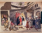 Egypt, 19th century. Cairo, scene of an Arabic wedding. Engraving.  Paris, Bibliothèque Des Arts Decoratifs (Library)