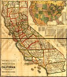 Railroad and county map of California showing every railroad station and post office in the state _ 1883 1883