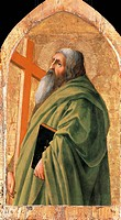 Saint Andrew, by Thomas Masaccio (1401-1428), tempera and gold leaf on wood panel, 45.1x30.8 cm.  Los Angeles, J. Paul Getty Museum (Archaeological An...