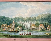 The Queen's hamlet in the garden of the Petit Trianon at Versailles, by Claude-Louis Chatelet, France 18th Century.  Modena, Biblioteca Estense (Libra...