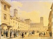 Cathedral Square in Cremona, before 1836, by Carlo Gilio Rimoldi (1787-1841), watercolour on paper, Italy 19th century.  Cremona, Museo Civico Ala Pon...