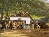 David Monies (1812-1894). Denmark, Peoples' festival in a country house, 1856.  Copenhagen, Kobenhavns Bymuseum (City History Museum)