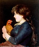 Cocca bella (Young girl with a hen), 1886, by Giuseppe Guzzardi (1845-1914), oil on canvas, 65x55 cm.  Private Collection