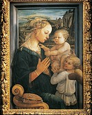 Madonna and Child with Angels, ca 1465, by Filippo Lippi (1406-ca 1469), tempera on panel, 92x63.5 cm.  Florence, Galleria Degli Uffizi (Uffizi Galler...