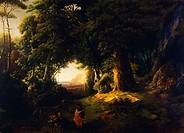Baptism of Clorinda, 1856, by Luigi Ashton (1824-1884), oil on canvas, 87x120 cm.  Milano, Accademia Di Belle Arti Di Brera Quadreria