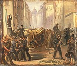 Italy - 19th century, First War of Independence - 'Five Days of Milan'. Barricades at Porta Romana (March 1848).  Milan, Civico Museo Del Risorgimento...