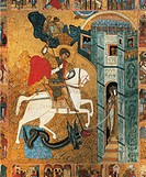 St George slaying the dragon, from Stories of St George, Icon, Novgorod Region, Russia, 16th Century, detail.  Private Collection