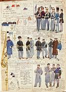 Militaria, Italy, 19th century. Uniforms and badges of the Kingdom of Italy, 1860. Color plate by Quinto Cenni.  Roma, Archivio Dell'Ufficio Storico D...