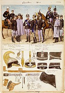 Militaria, Italy, 20th century. Uniforms of the cavalry officers of the Kingdom of Italy, 1904. Color plate by Quinto Cenni.  Roma, Archivio Dell'Uffi...