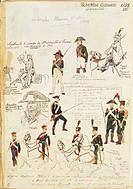 Militaria, France, 18th-19th century. Military uniforms of the French Republic, 1799-1815. Color plate by Quinto Cenni.  Roma, Archivio Dell'Ufficio S...