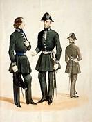 Militaria, Italy, 19th century. Uniform of postal officer of the Kingdom of Sardinia. Watercolor.  Rome, Museo Storico Delle Poste E Telecomunicazioni...