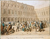 Italy - 19th century, First War of Independence- Clash between revolutionaries and Austrians in San Marco Piazza, Venice, 18 March, 1848. Engraving.  ...