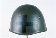 Militaria, Italy, 20th century. Helmet with Savoia Cavalry cross.  Pinerolo, Museo Storico Dell'Arma Di Cavalleria (Troops Museum)