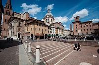 Italy, Lombardy, Mantua, Piazza delle Erbe Square and the Basilica di Sant´Andrea Dome