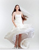 portrait od a bride with long dark hair in wedding dress - isolated on gray