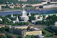 Aerial view of Smolny Convent - Saint Petersburg historic centre (UNESCO World Heritage List, 1990), Russia