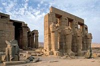 Egypt - Ancient Thebes, Necropolis (World Heritage, Unesco, 1979) - The Ramesseum, the funerary temple of Ramses II, New Kingdom, Dynasty XIX. Pillars...