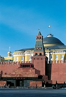 Russia - Moscow. Red Square (UNESCO World Heritage List, 1990). Kremlin and Lenin Mausoleum, 1929