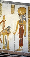 Egypt, Thebes (UNESCO World Heritage List, 1979) - Luxor. Valley of the Kings. Tomb of Prince Mentuherkhepeshef. Mural paintings. Cat-head goddess Bas...