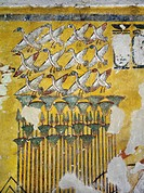 Egypt, Thebes (UNESCO World Heritage List, 1979) - Luxor - Valley of the Kings. West Valley. Tomb of Ay. Burial chamber. Eastern wall. Mural paintings...