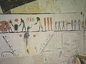 Egypt, Thebes (UNESCO World Heritage List, 1979) - Luxor - Valley of the Kings - Tomb of Ramses IX (KV 6) - Funerary room - Detail of the frescoed cei...