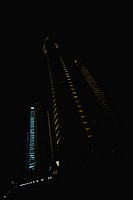 Skyscrapers illuminated at night