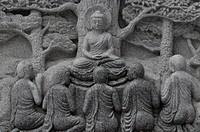 South Korea, Busan, bas_relief at the Samgwangsa Temple                                                                                               ...