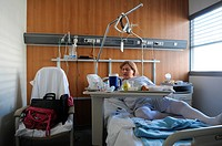 Photo essay at Lyon hospital, France. Department of urology. Trans woman after a sex reassignment surgery, vaginoplasty.