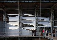 The Garsington Temporary Opera House, Wormsley Estate, Buckinghamshire, Robin Snell, 2011, UK, Partial exterior view through with visitors, SNELL ASSO...