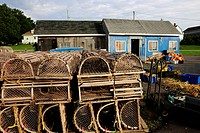 Fishermen's huts with lobster baskets in the port of North Rustico, Prince Edward Island, Canada, North America