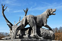 Statues of hunting animals by Johann Nepomuk Hautmann in front of Herrenchiemsee Palace, Herreninsel island, Bavaria, Germany, Europe