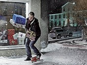 Man dropping Christmas gifts in snow