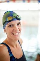 Woman wearing swim gear at pool