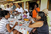 breakfast at family´s home of Fonds-Saint-Denis, Martinique, french island overseas region and department in the Lesser Antilles in the eastern Caribb...