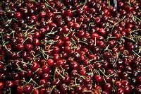 Spain, Malaga, Full frame of cherries
