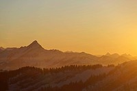 Sunset over the Swiss Alps seen from Kronberg Mountain, Canton of Appenzell, Switzerland, Europe